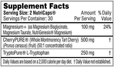Performance Lab Sleep Ingredients, Magnesium, Tart Cherry (Melatonin), L-Typtophan